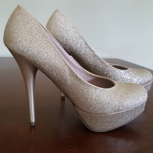 Champagne glitter heels